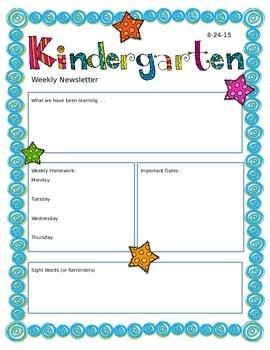 Kindergarten Newsletter Template by Lyndsey Simpson | TpT