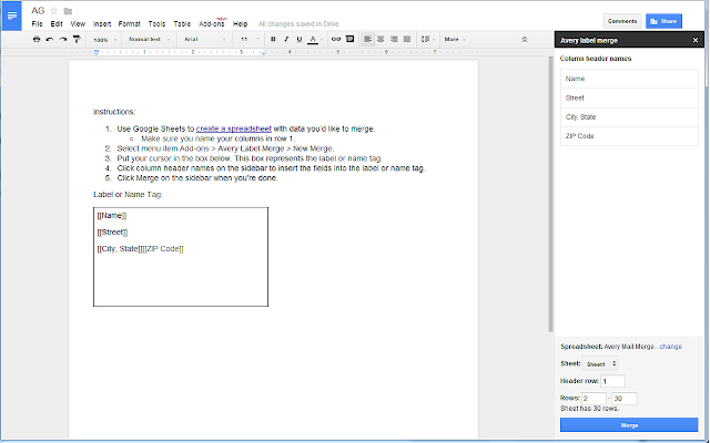 Avery Label Merge Google Docs add on