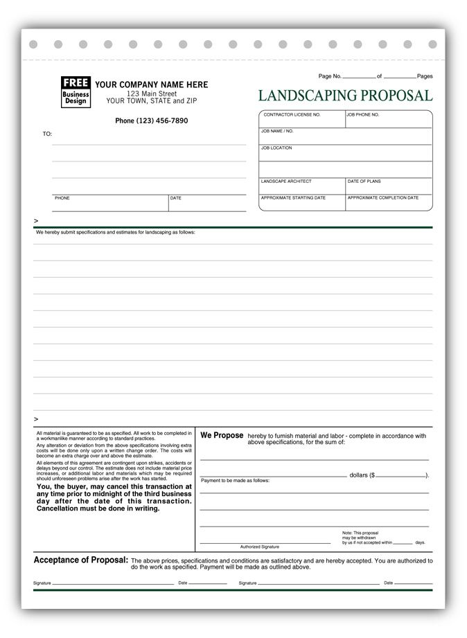 free landscape proposal template free landscaping proposal