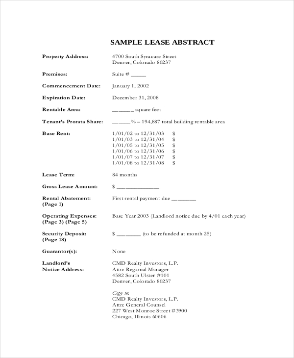 Lease Abstract Template | Template
