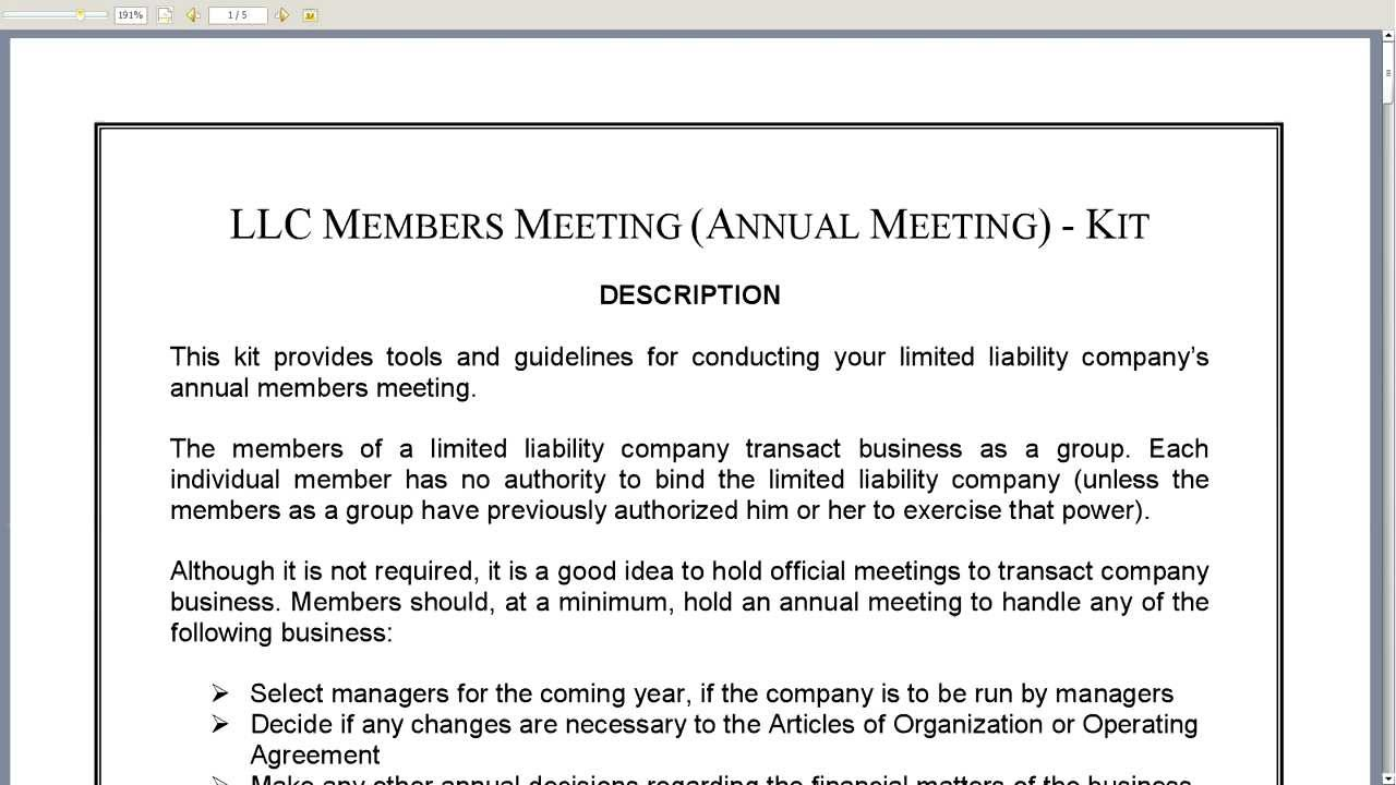 Llc Annual Meeting Minutes Template | Template