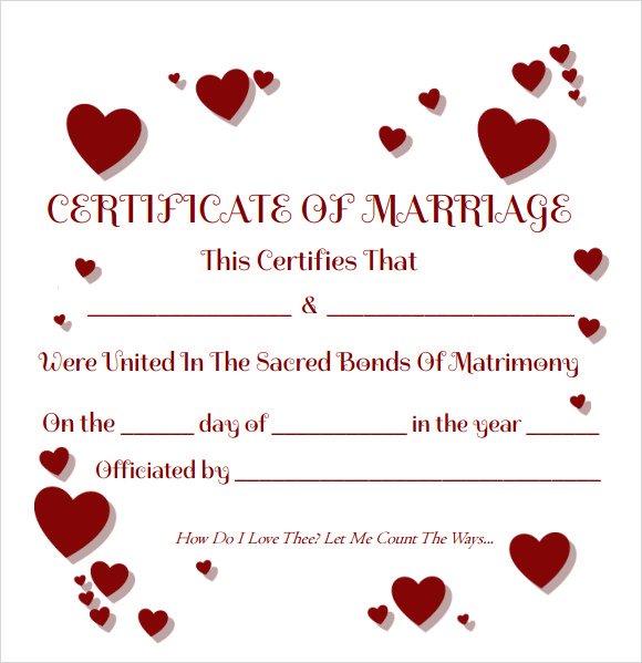 Sample Marriage Certificate Template 18+ Documents in PDF, Word