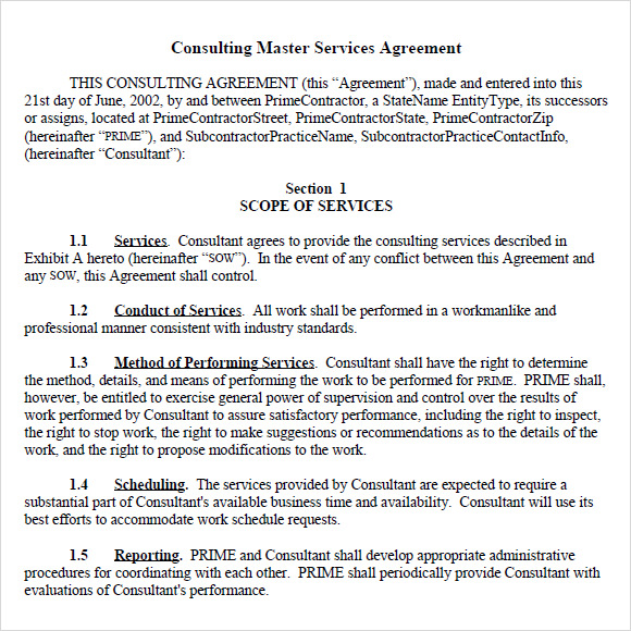 master service agreements template 9 sample master service