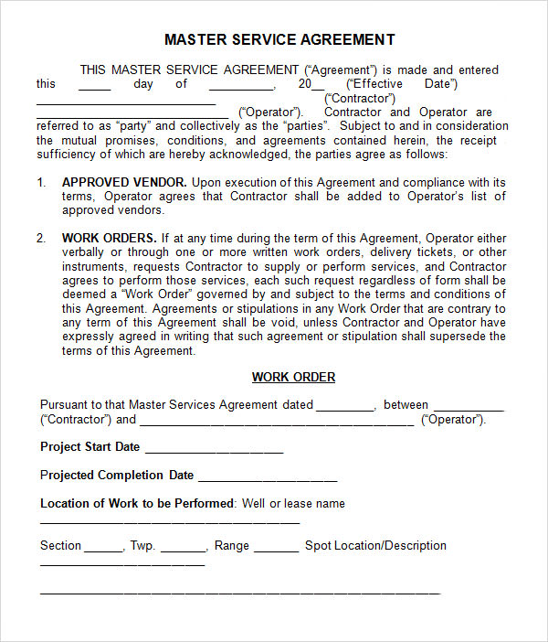 what is a master service agreement master service agreement