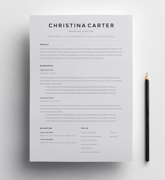 Creative Resume Template Minimalist Resume Resume Modern | Etsy