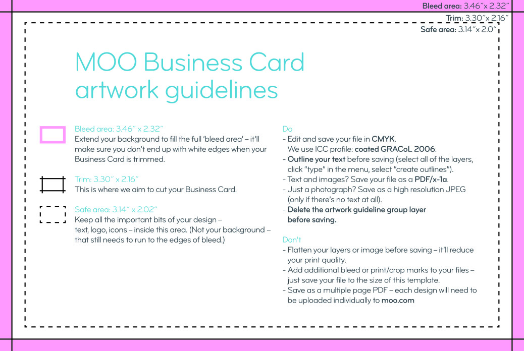 Business Card Size Guidelines | Artwork Templates | MOO