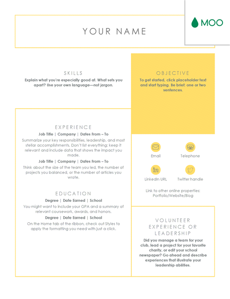 Crisp and clean resume, designed by MOO Office Templates