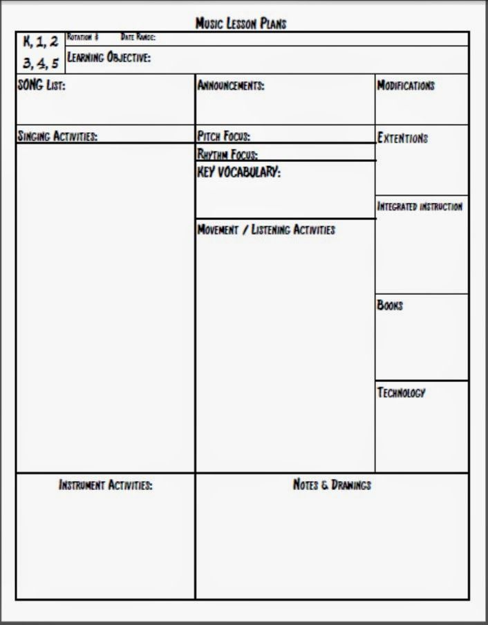 Elementary Music Lesson Plan Template by Marissa Colon | TpT