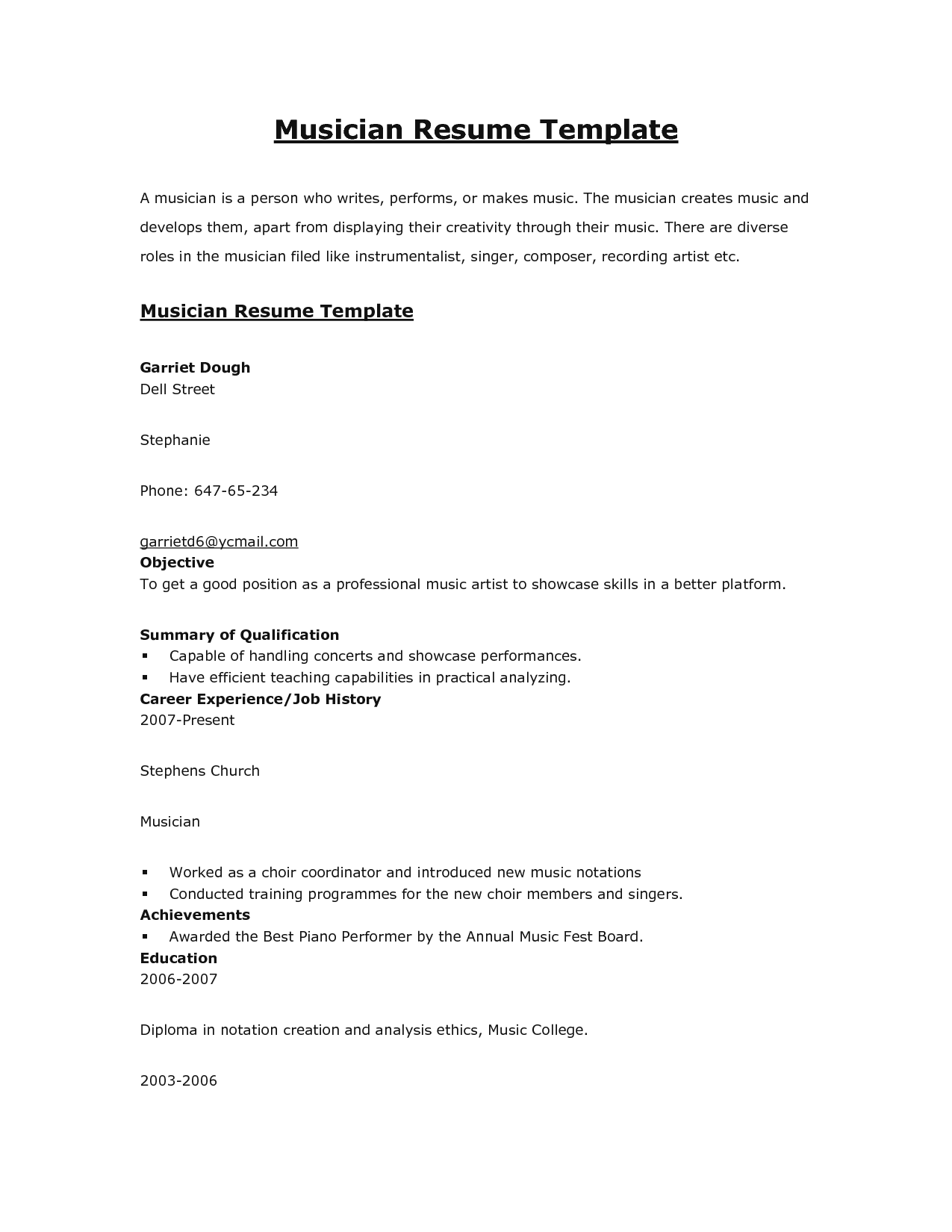 Musicians Resume Template Keithhawley Resume Templates Ideas