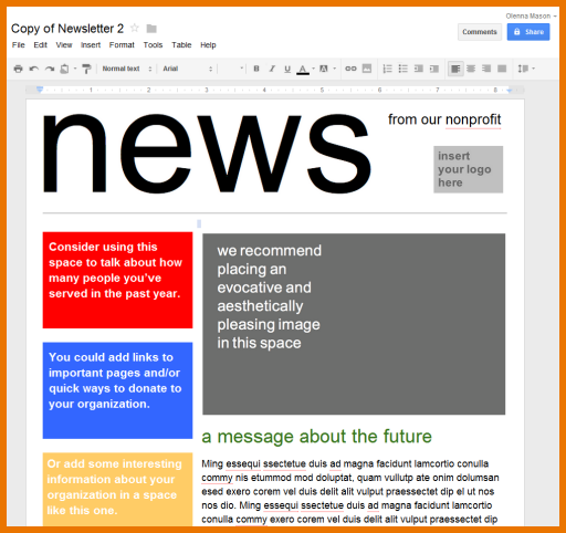 Google Docs Newsletter Template | merrychristmaswishes.info
