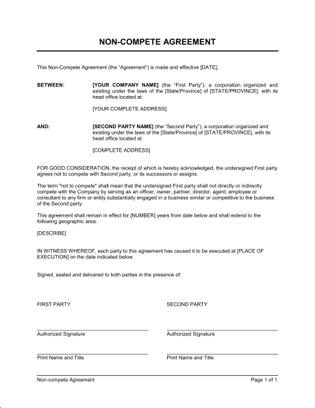 General Non Compete Agreement Template – Word & PDF | By Business