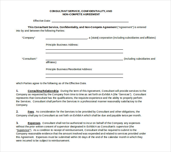 8+ Word Non Compete Agreement Templates Free Download | Free