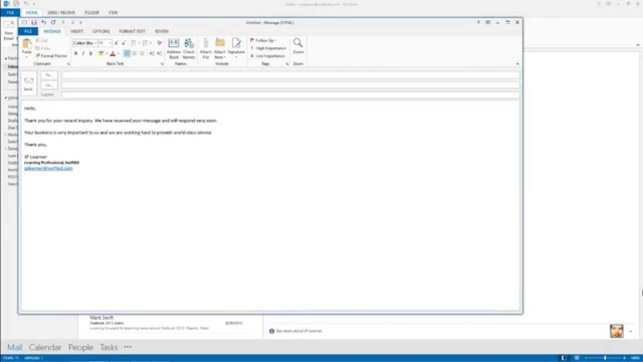 Outlook 2013 How to Create an Email Template YouTube
