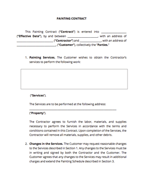 Painting Contract Template Docsketch