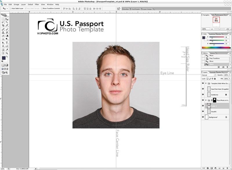Photoshop Passport Photo Template v1.1 | NicMyers.com