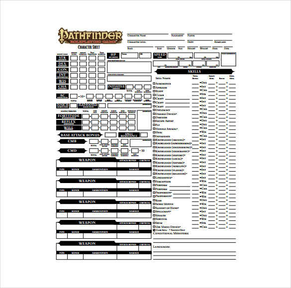 Character Sheet Template 8+ Free PDF Documents Download | Free