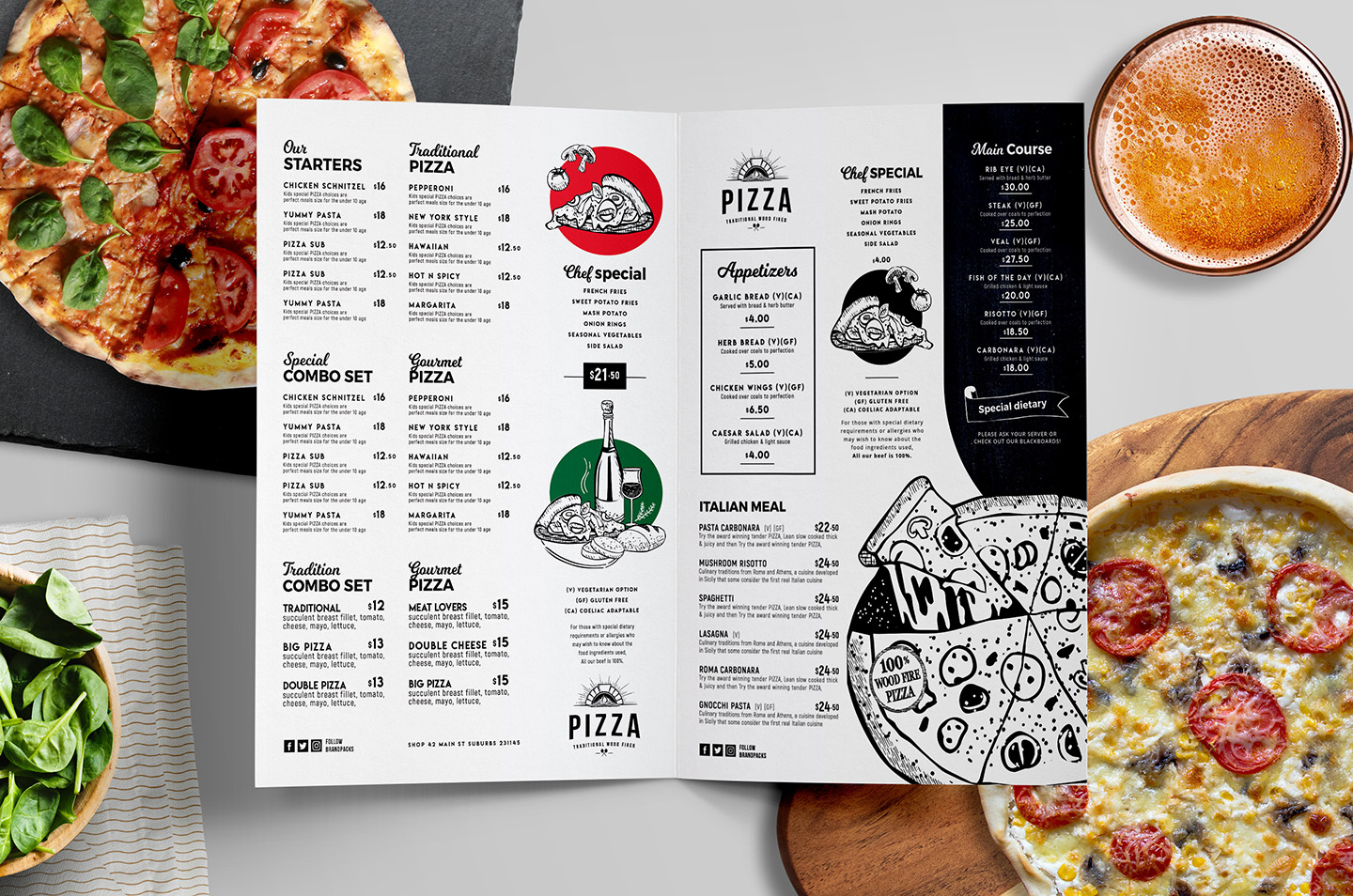 Pizza Menu Templates in PSD, Ai & Vector BrandPacks