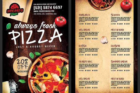 Pizza Flyer Menu Template ~ Flyer Templates ~ Creative Market