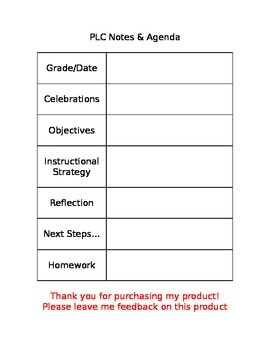 PLC Agenda Template by Alisa Kaczorowski | Teachers Pay Teachers