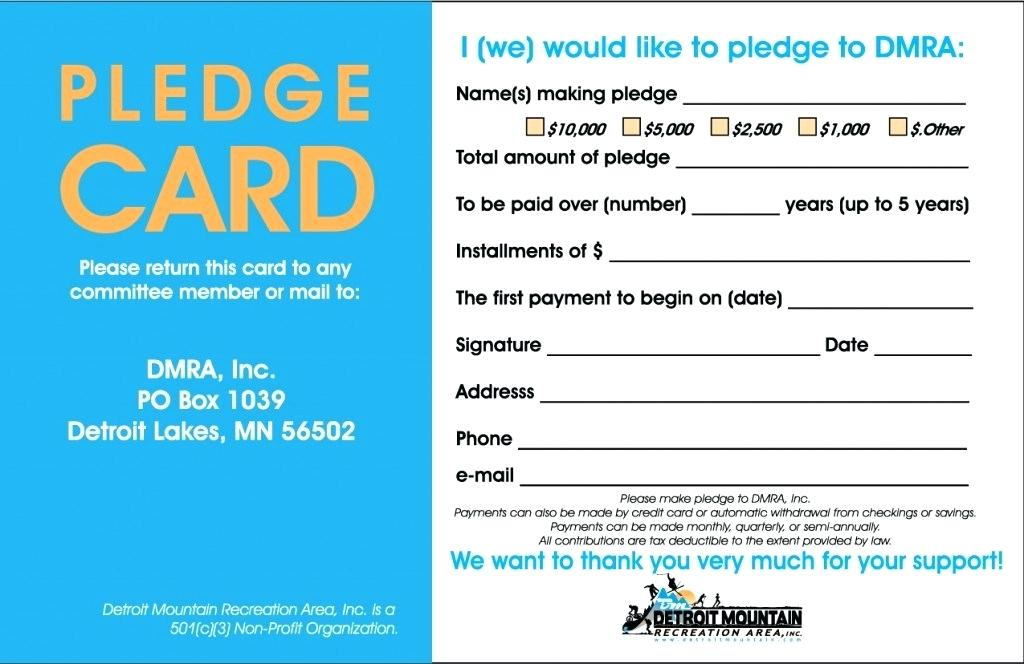Pledge Card Template Photo Gallery For Website Sample Pledge Cards