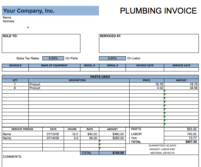 Plumbing Invoices ~ onlineblueprintprinting