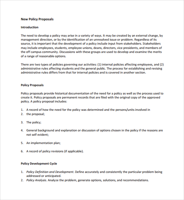 policy proposal template sample policy proposal template 9 free