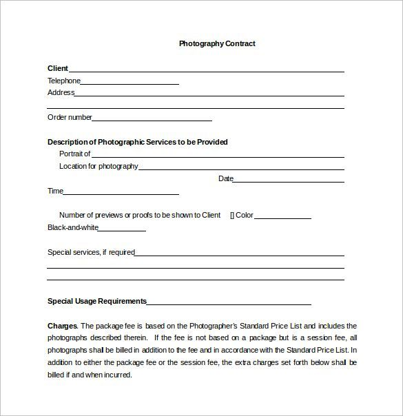 11 Printable portrait photography contract template Forms