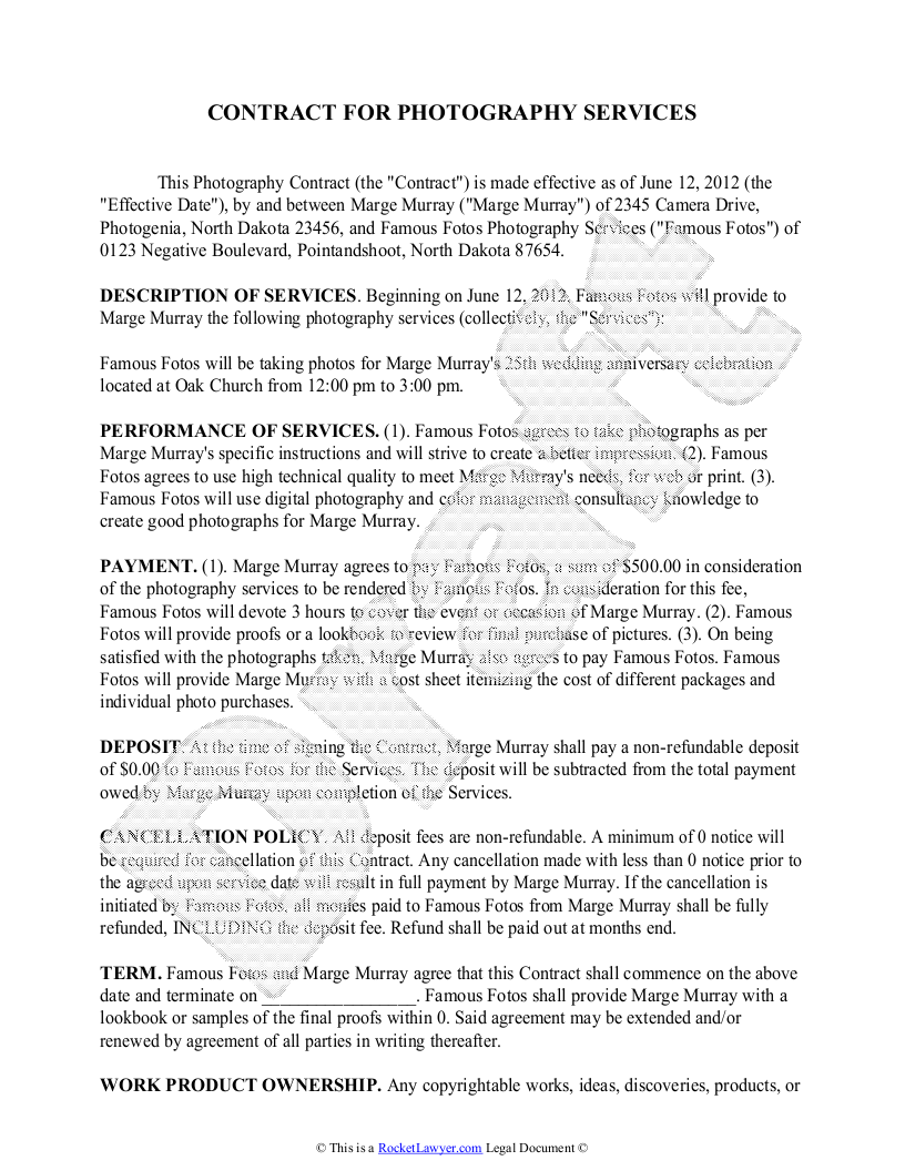 Portrait Photography Contract Word Template Free Download