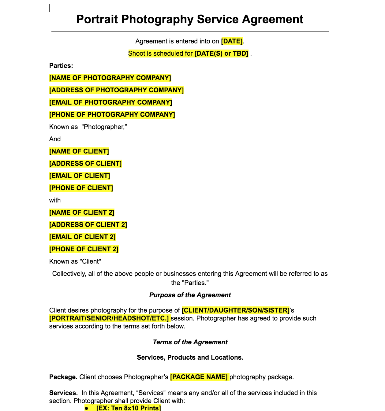 Photography Contract Template Free Sample for Wedding, Portrait