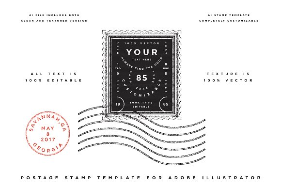 Postage Stamp Template ~ Graphic Objects ~ Creative Market