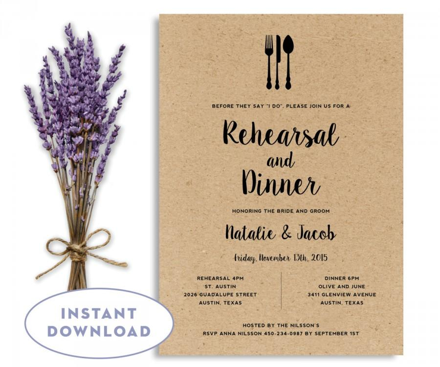 Rehearsal Dinner Invitation Template, Wedding Rehearsal Editable