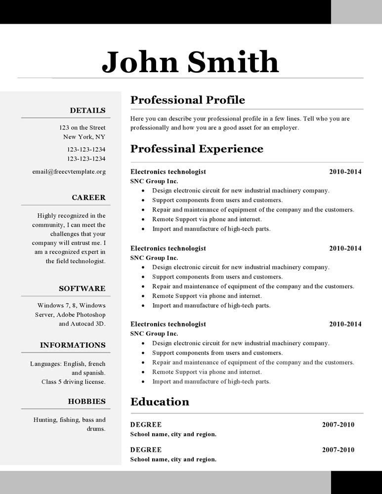 Resume Template Openoffice Openoffice Resume Template Open Office