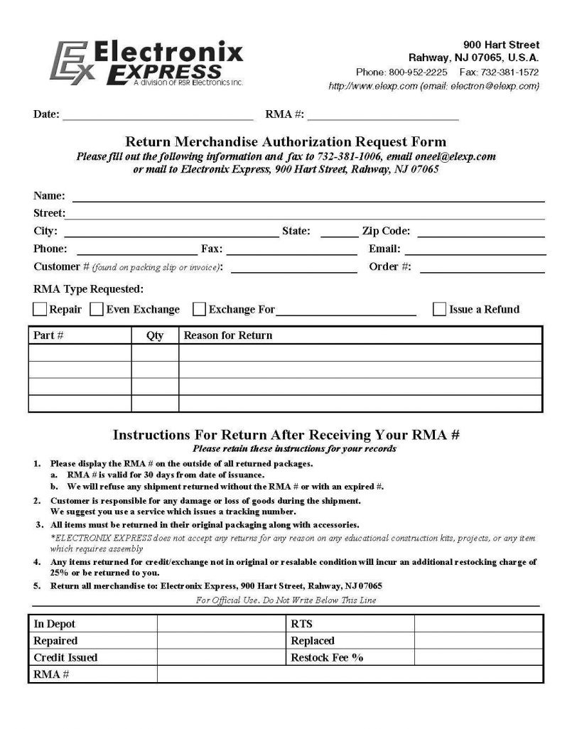Form Templates Rma 0009092 Preview Excellent Sample No Format