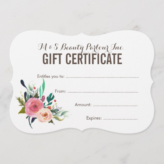 Painted Floral Salon Gift Certificate Template | Zazzle.com