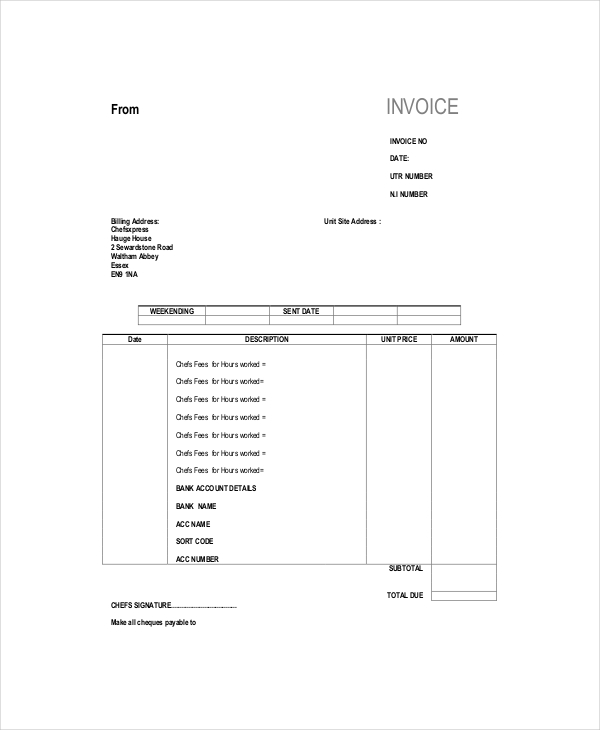 Invoice Template Self Employed Uk 1 night club nyc guide
