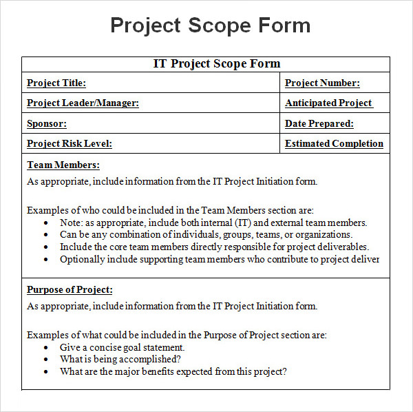 8+ Sample Project Scope Templates PDF, Word