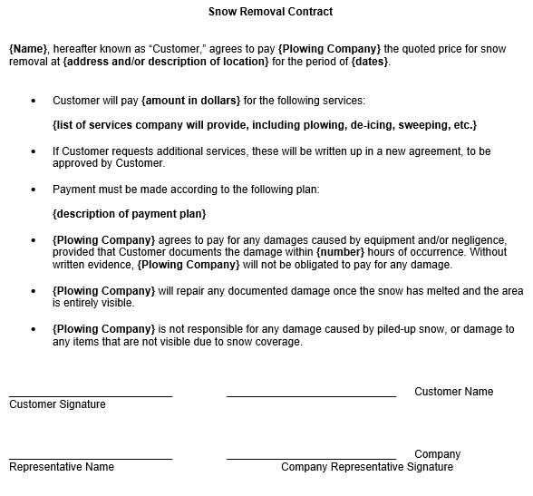 Free Snow Removal Contract Template | contracts | Pinterest | Snow