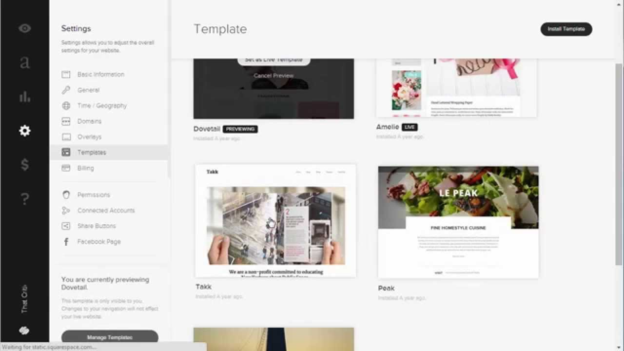 How to Change your Squarespace Template for your Website Website
