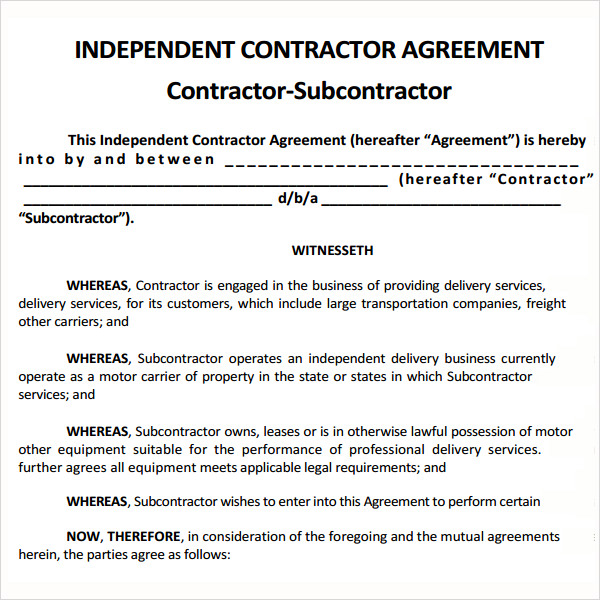 subcontractor agreement doc Narco.penantly.co