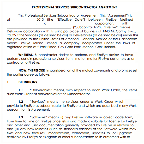 Subcontractor Agreement Template For Professional Services Emsec