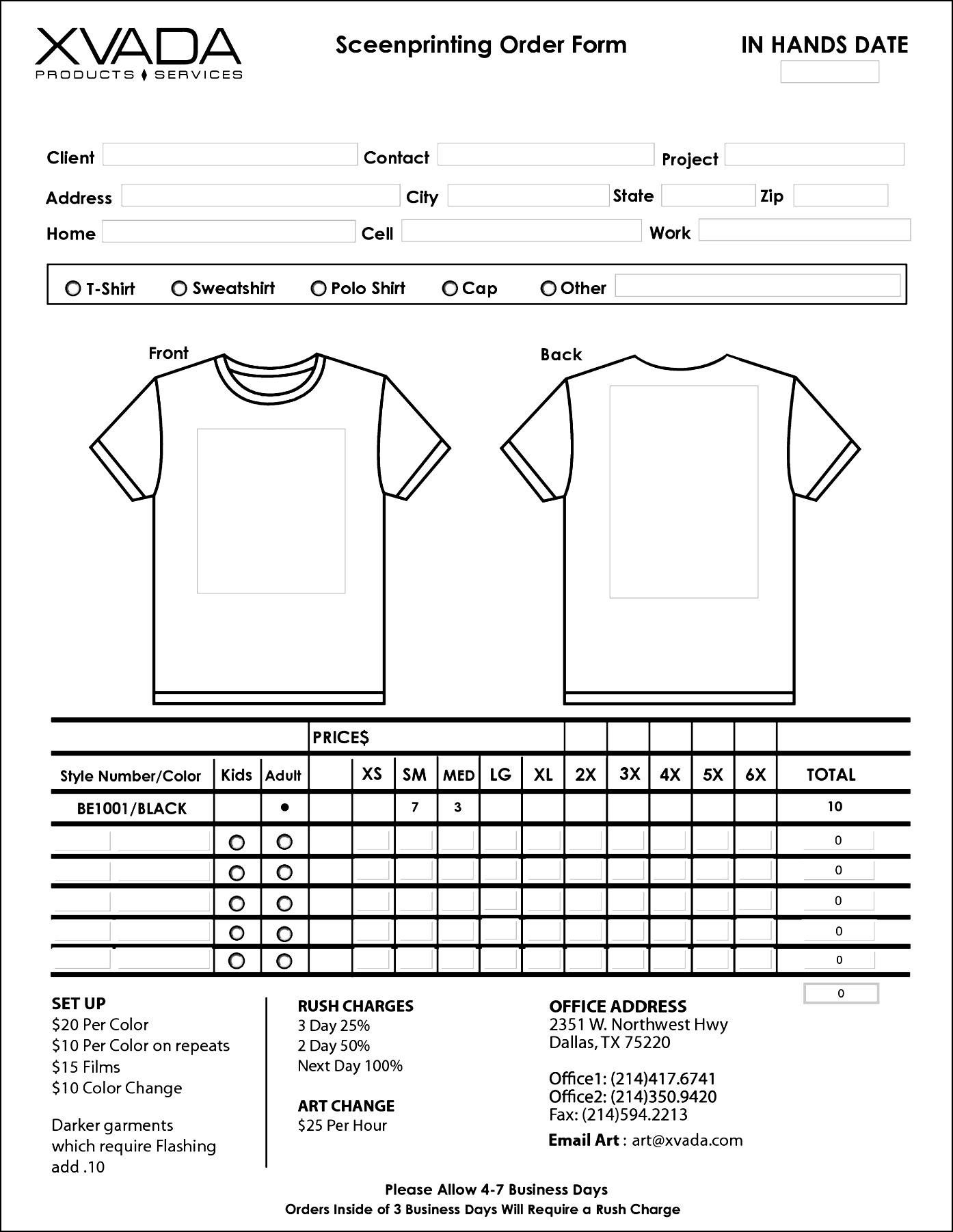 Sample T Shirt Order Form Template Microsoft Word