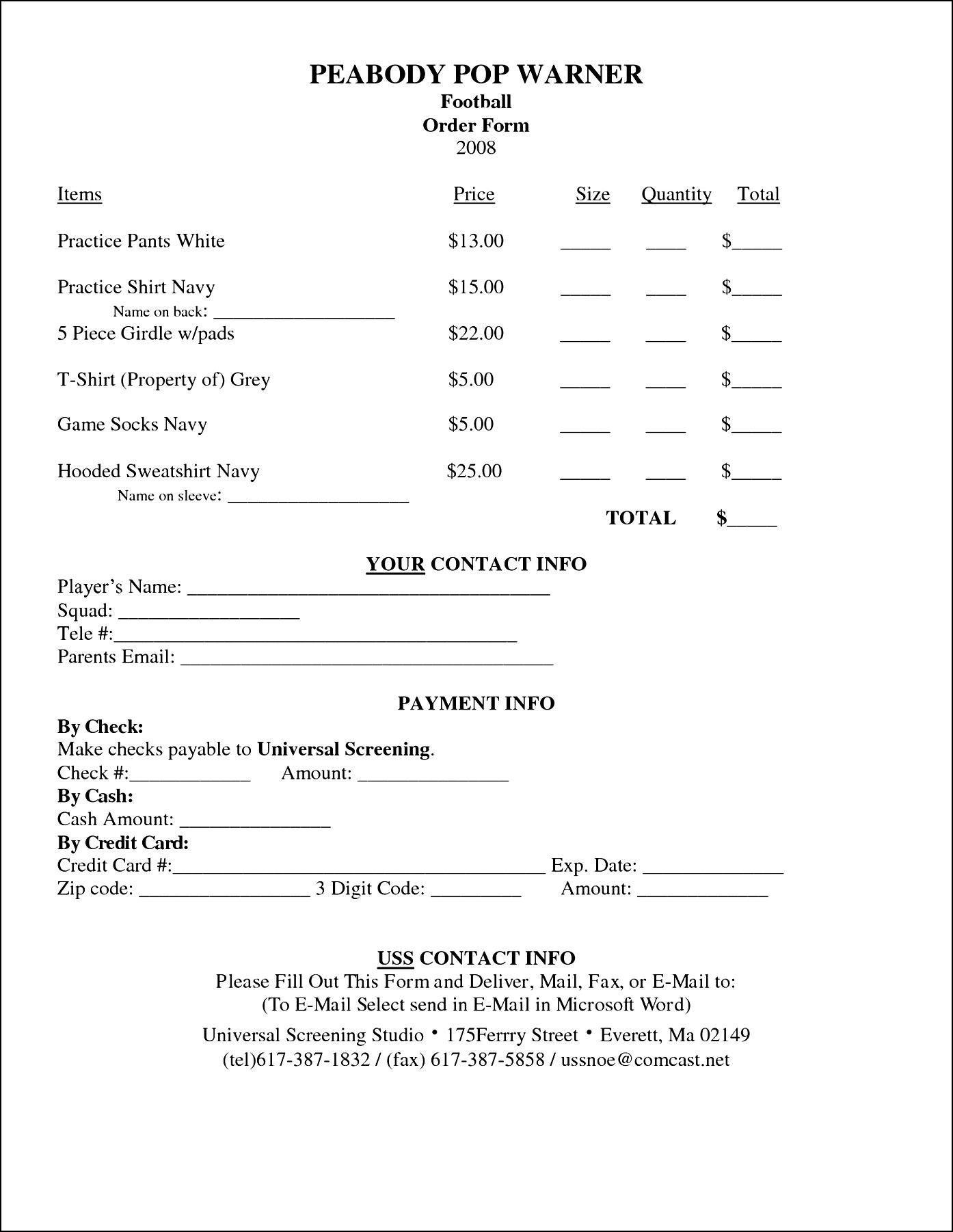 Form Templates T Shirt Order Example Template Microsoft Word
