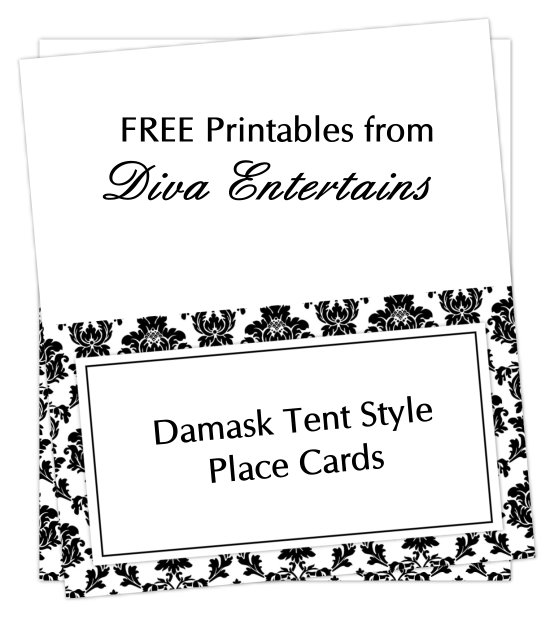 Damask Blank Place Card Tentweb Popular Table Tent Name Cards
