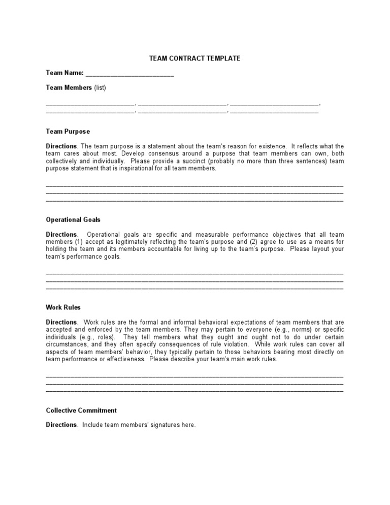 Team Contract Template | Texas Vet