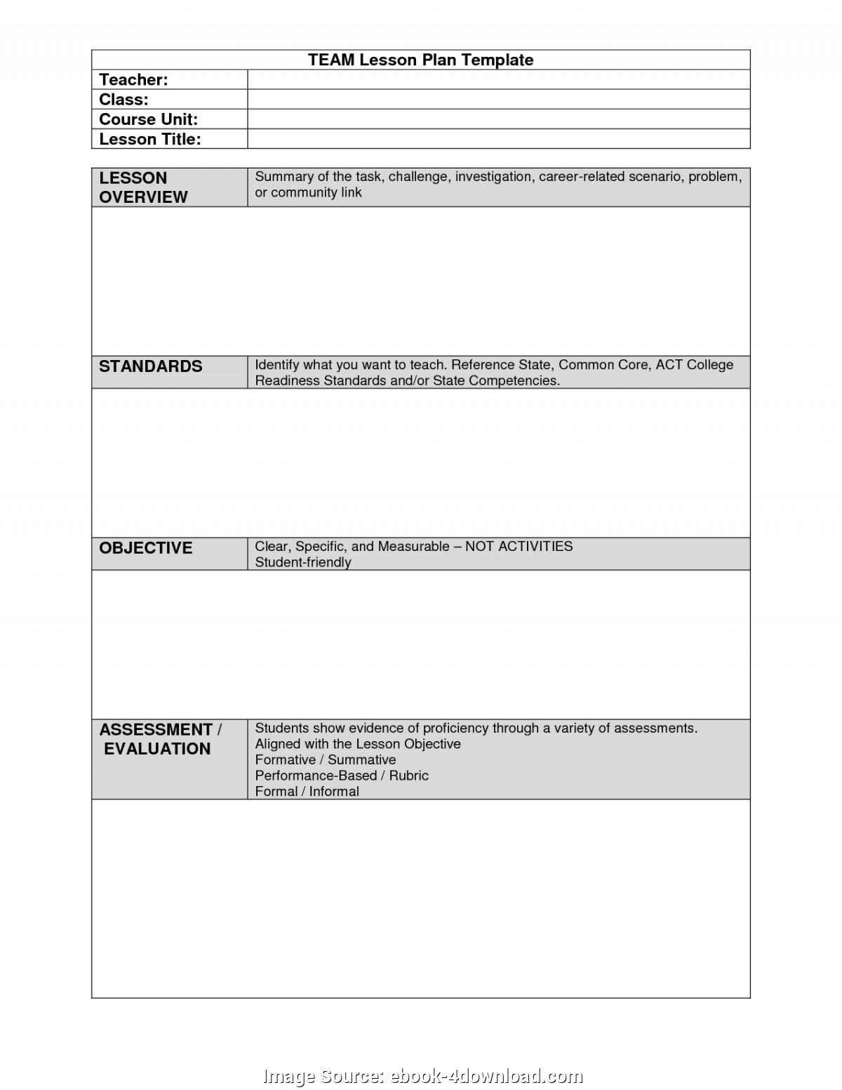 Great Lesson Plan Template College Team Lesson Plan Template | E