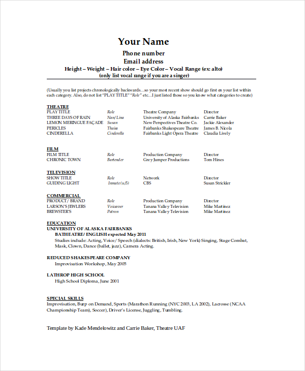 Technical Theatre Resume Template Lovely Theatre Resume Template
