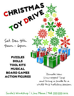 Christmas Toy Drive Flyer Template | crafts | Christmas, Toys