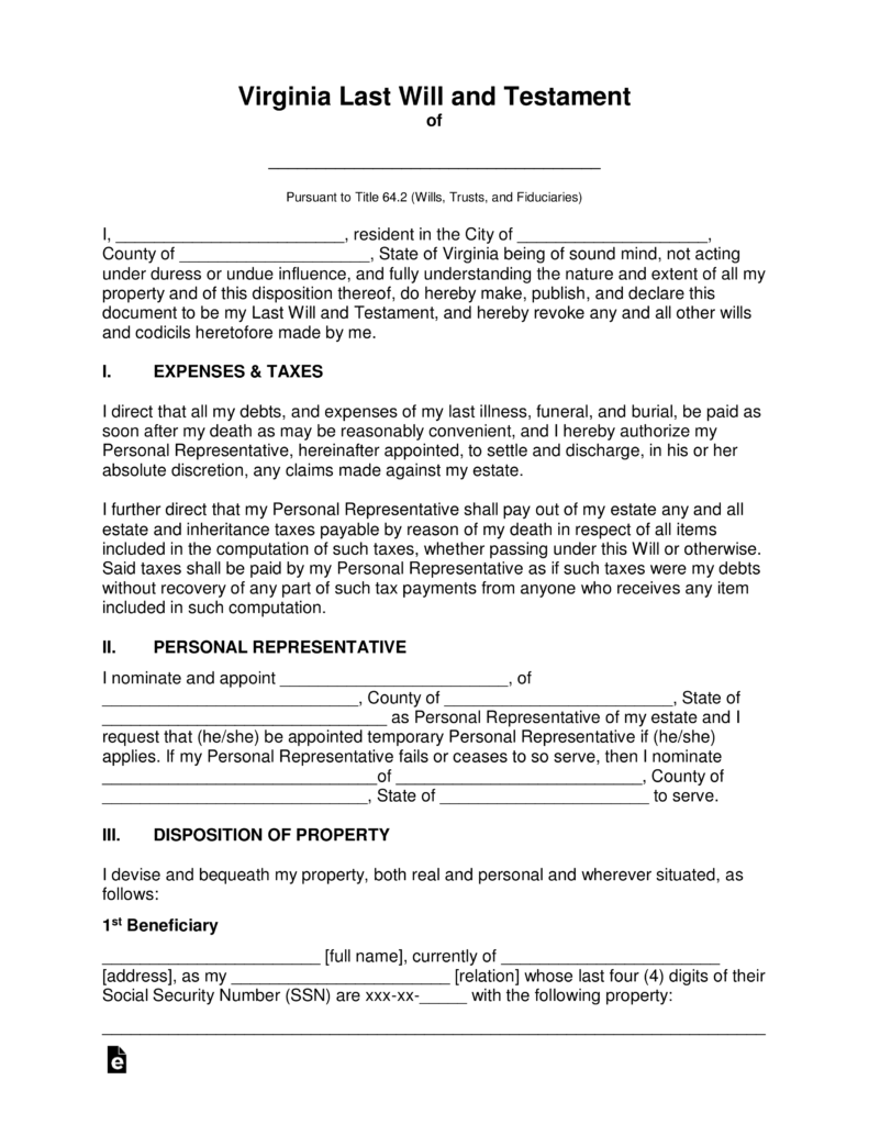 Free Virginia Last Will and Testament Template PDF | Word