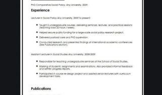 academic cv template